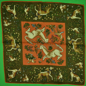 Drake's x Holland & Holland 70% Wool/ 30% Silk Pocket Square w/ Hunting Motif