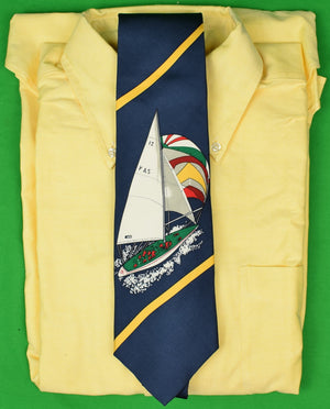 Brooks Brothers Navy Sailboat Silk Tie