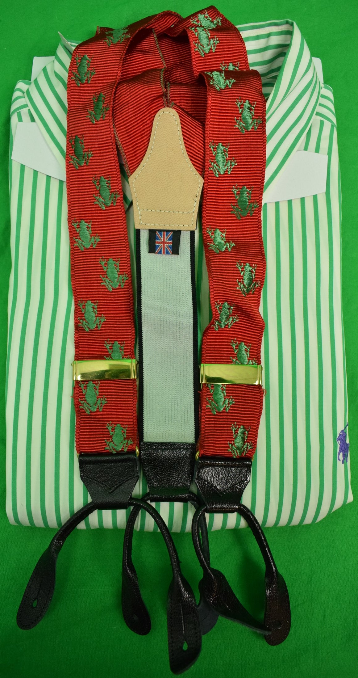Albert Thurston Made in England Grosgrain Green Frog on Ruby Red Braces
