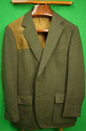 Chipp Birdseye Windowpane Tweed Shooting Jacket w/ Suede Shoulder Patch & Foulard Print Lining Sz: 44R