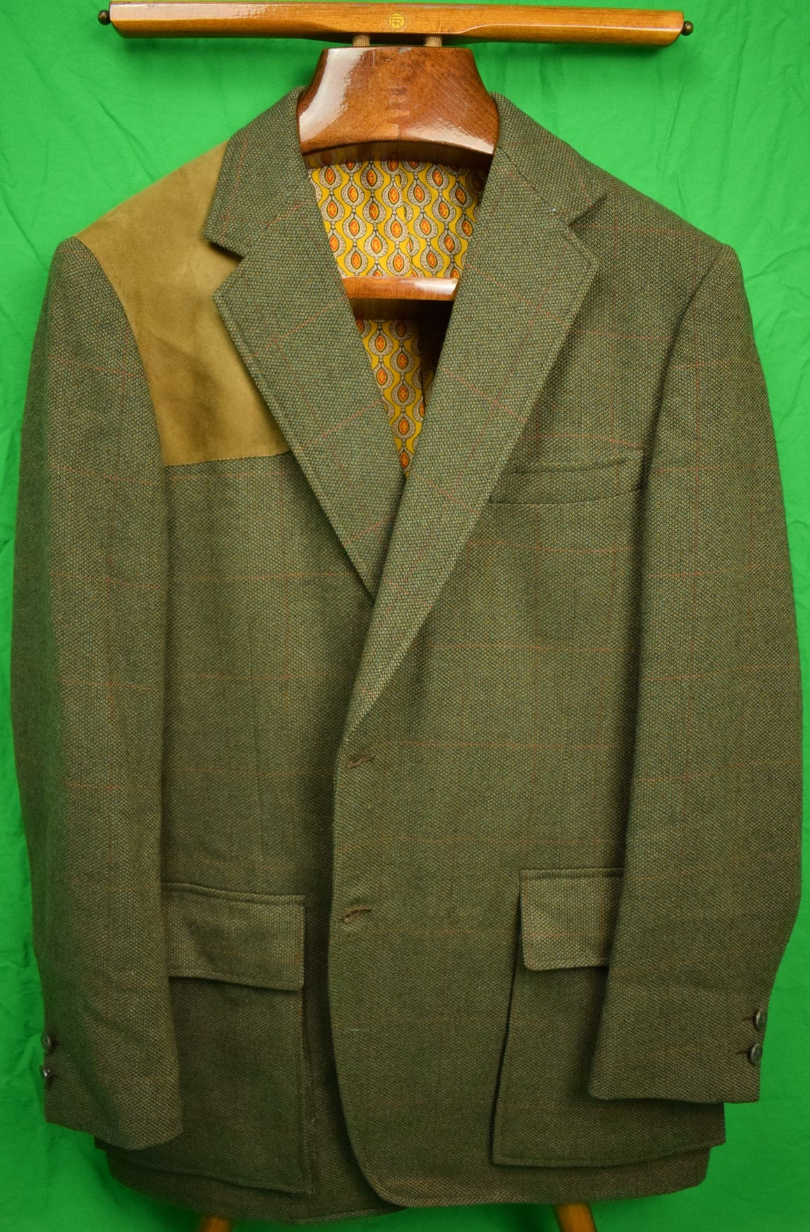 Chipp Tweed Shooting Jacket w/ Suede Shoulder Patch & Foulard Print Lining Sz: 44R