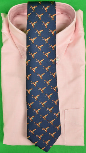 The Andover Shop Navy Silk Tie w/ 'Mallard in Flight' Motif Made in Ireland