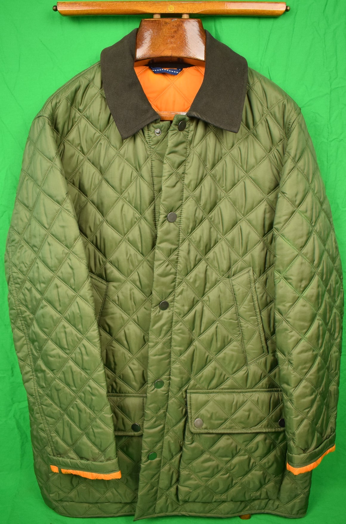 Country Classics Olive Quilted Shooting Jacket w/ Orange Lining Sz 46