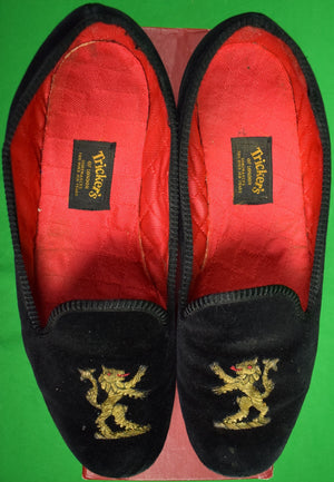 Tricker's Black Velvet Albert Slippers w/ Rampant Lion Motif Sz: 7-1/2
