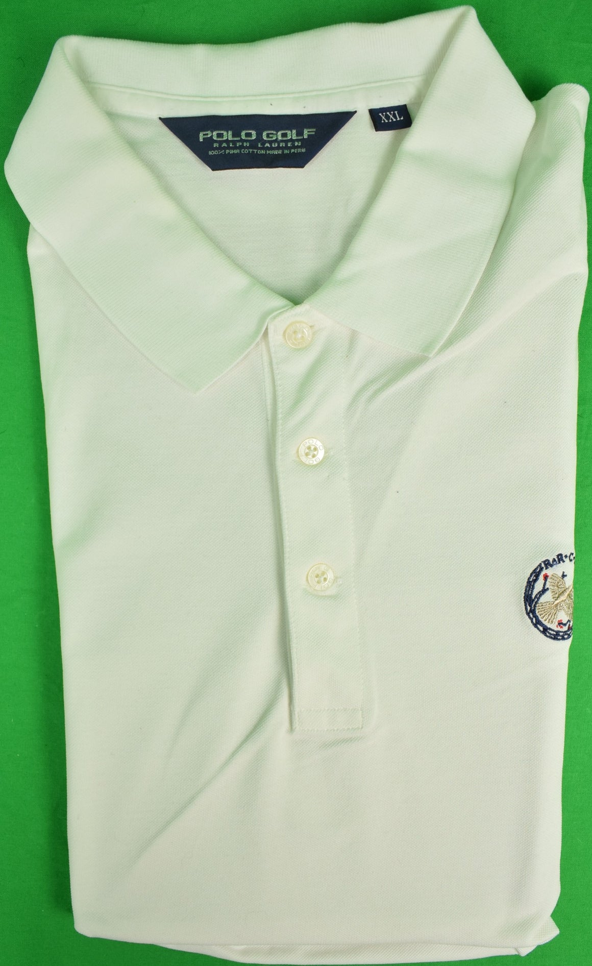 Ralph Lauren Polo Golf White S/S Shirt w/ Rolling Rock Club Logo Sz: XXL