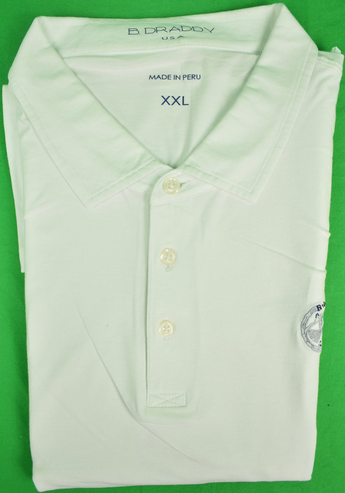 B. Draddy White Golf Shirt w/ Rolling Rock Club Logo Sz: XXL
