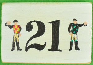 """21"" Club Two Hand-Painted Jockeys Wood Faux-Matchbook"