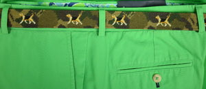 Polo Ralph Lauren Needlepoint Olive Camo Belt w/ Dog Motif Sz: 38