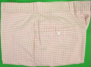 "Chipp Shell Pink Gingham Check Cotton Trousers Sz: 38""W (SOLD!)"