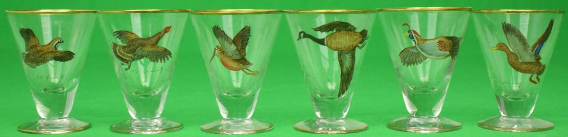 """Set of 6 Cyril Gorainoff Game Bird Cordial Glasses"""