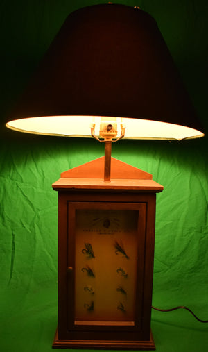 Orvis 8 Trout Fly Box Lamp w/ Hand-Carved Trout Fish Decoy Finial (Sold!)