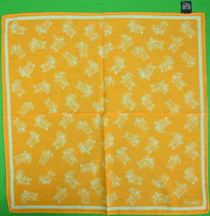 Drake's Italian Cotton Orange Pocket Square w/ Sea Turtle Motif