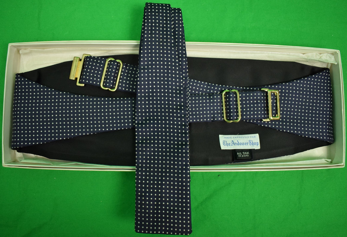 The Andover Shop Navy Pin Dot Cummerbund & Bow Tie New in Box Set!