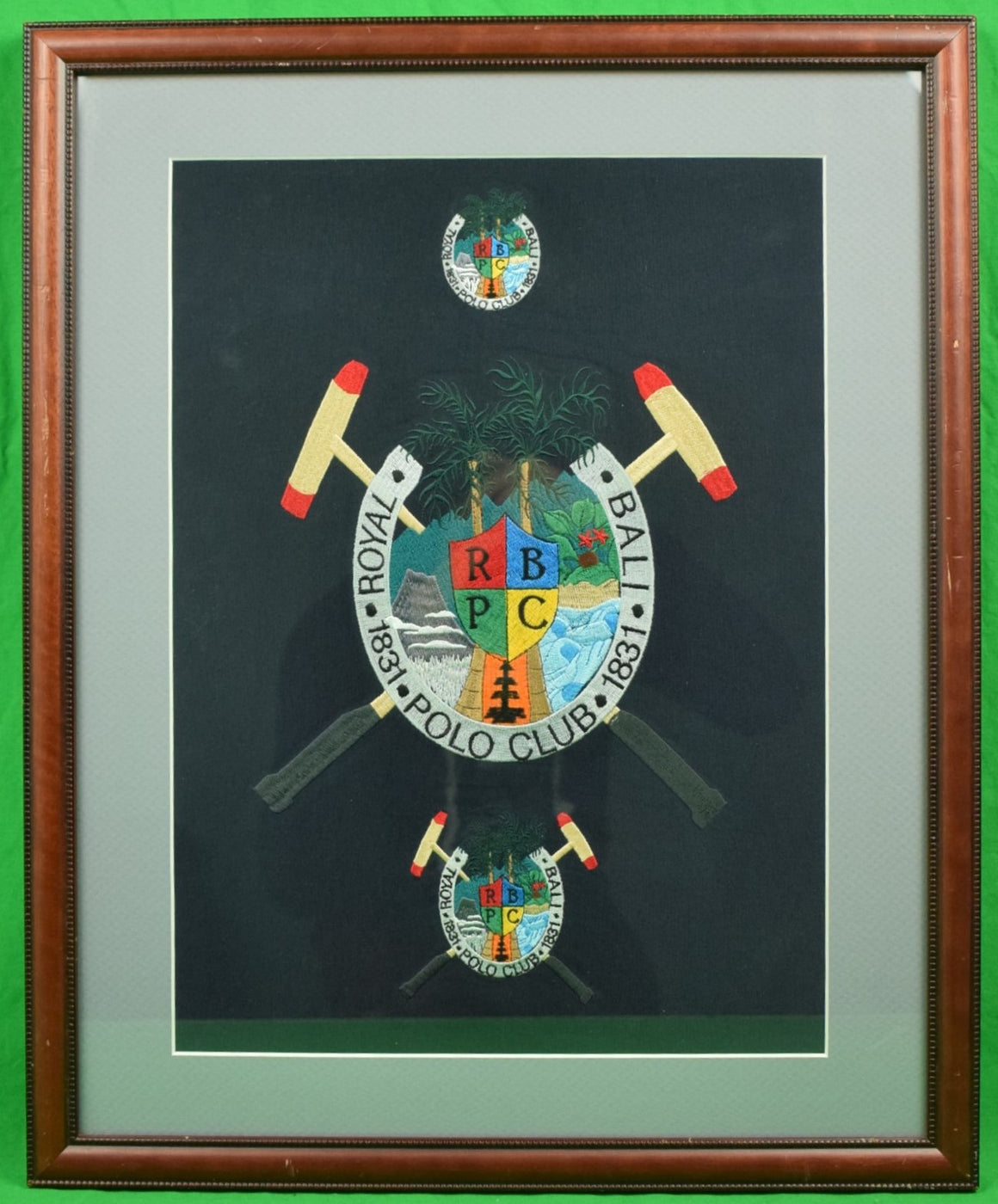 """Royal Bali Polo Club 1831 Framed Embroidered w/ X'd Mallets Crest"""