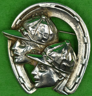 Sterling Jockey/ Horseshoe Brooch