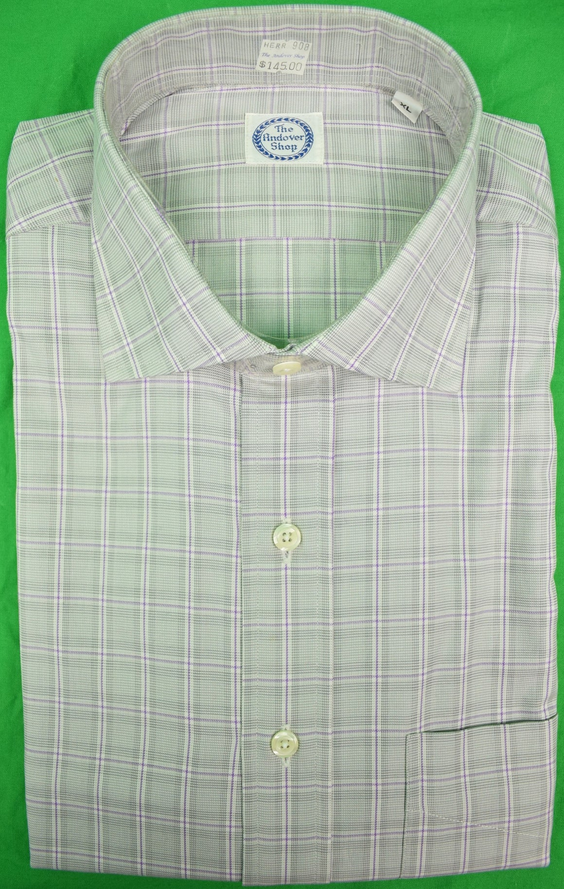 The Andover Shop Brush Cotton Glen Plaid Sport Shirt w/ Spread Collar Sz: XL (New w/ Tag!)