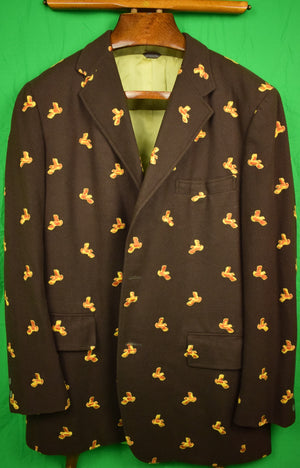 Chipp Gold Quail Embroidered Brown Flannel Blazer Sz: 44L