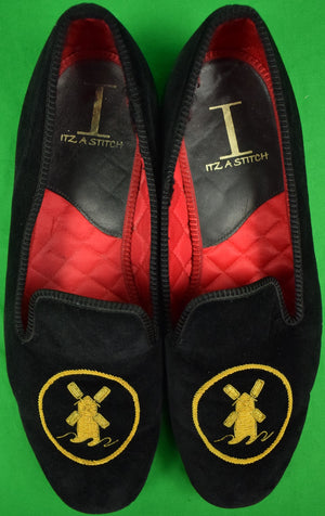 The Mill Reef Club Antigua Black Velvet Slippers Hand Made in England Sz: 9.5L/10R