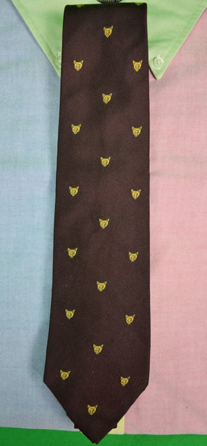 Polo by Ralph Lauren Burg Silk Twill Tie w/ Gold Fox Mask