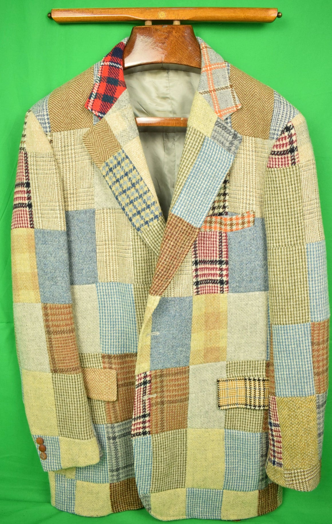 Corbin Patch Panel Tweed Sport Jacket Sz: 44L