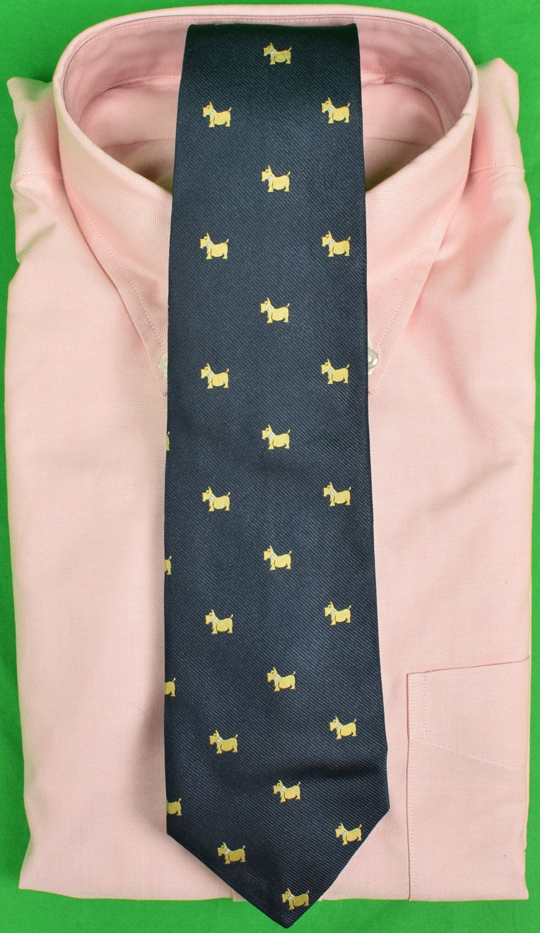 J Press Navy Irish Silk Club Tie w/ Scottie Dogs