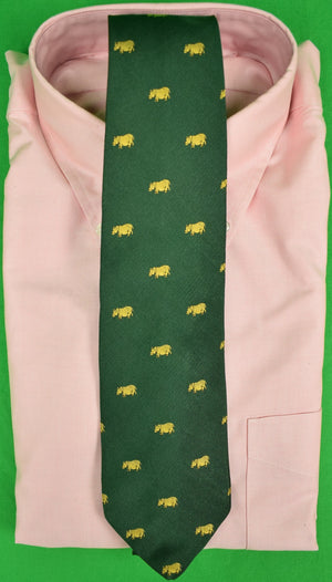 J Press Hunter Green Silk Tie w/ Emblematic Gold Rhino Print