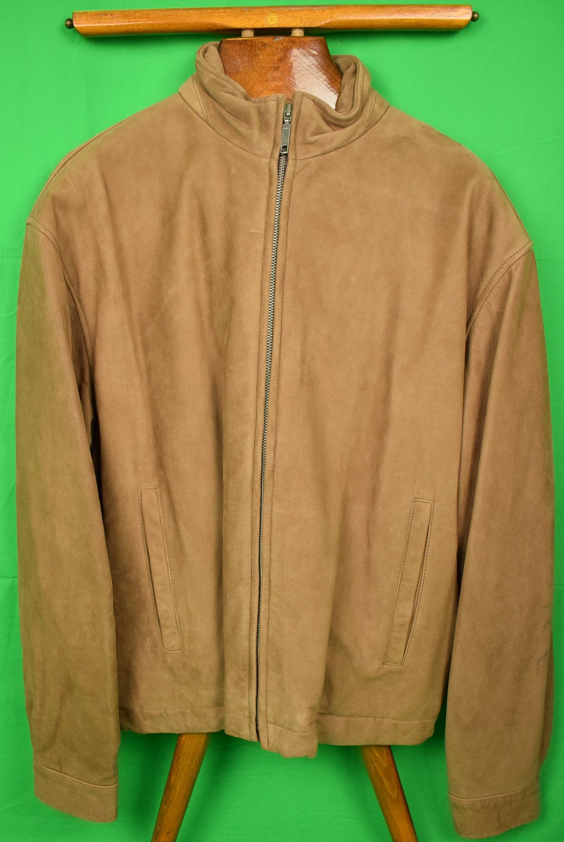The Andover Shop Tobacco Suede Bomber Zip Front Jacket Sz: L