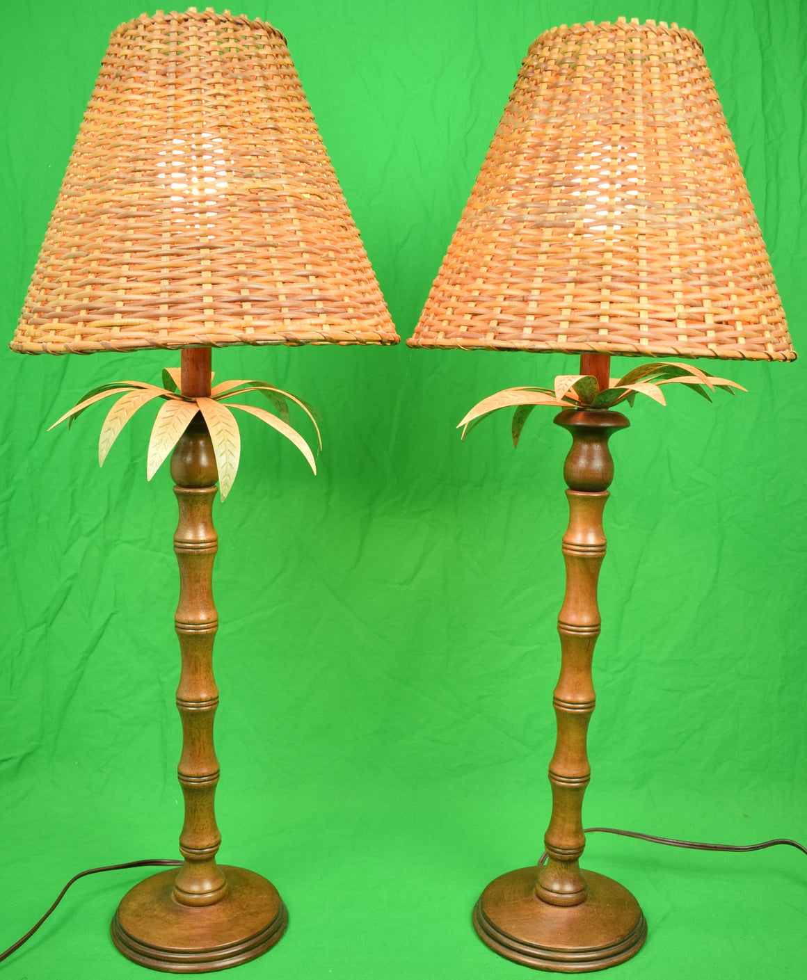 Pair of English Mahogany Table Lamps w/ Palm Fronds & Faux Bamboo Stems