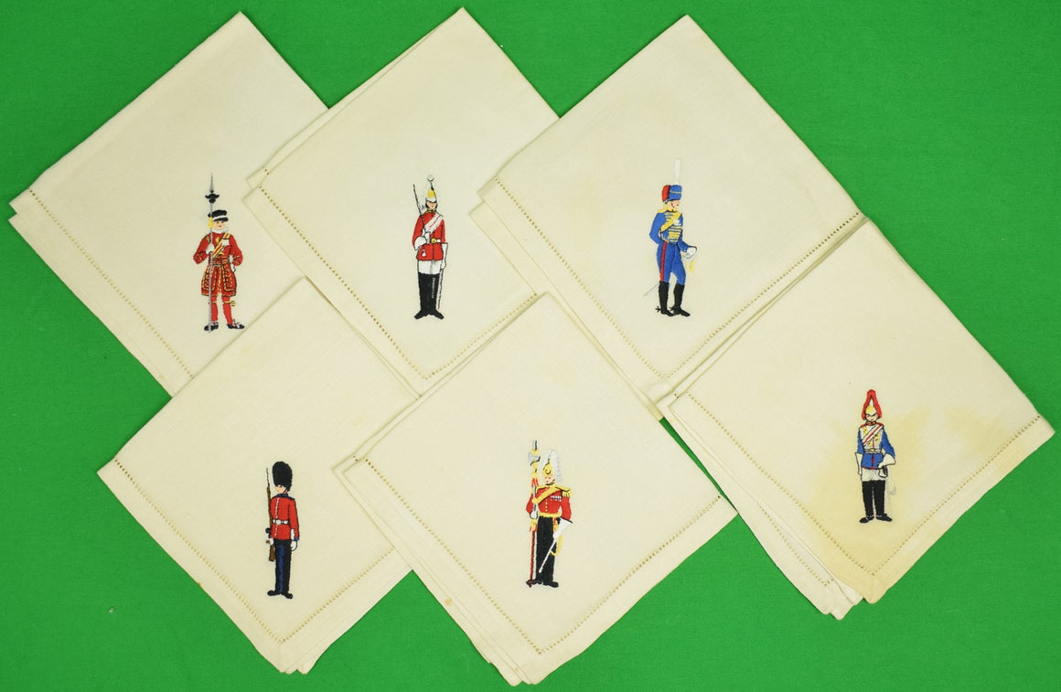 """Set of 6 British Guardsmen c1940s Linen Cocktail Napkins"""