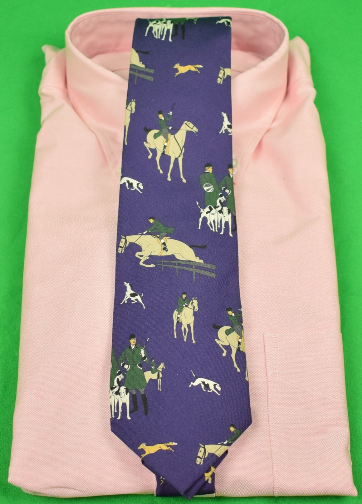 Ralph Lauren Purple Label Ancient Madder Fox-Hunting Italian Silk Tie
