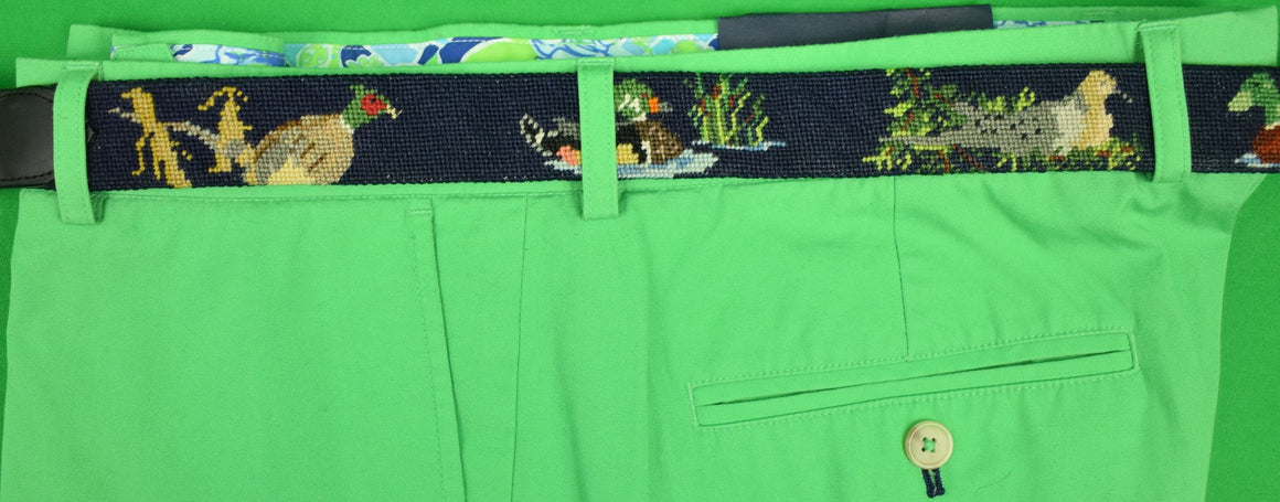Hand-Needlepoint Navy Belt w/ Duck Decoy Motif Sz: 37W