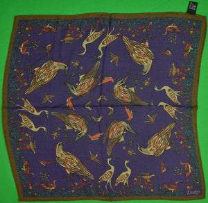 Drake's 70% Wool/ 30% Silk 'Birds' Purple Pocket Square Made in Italy