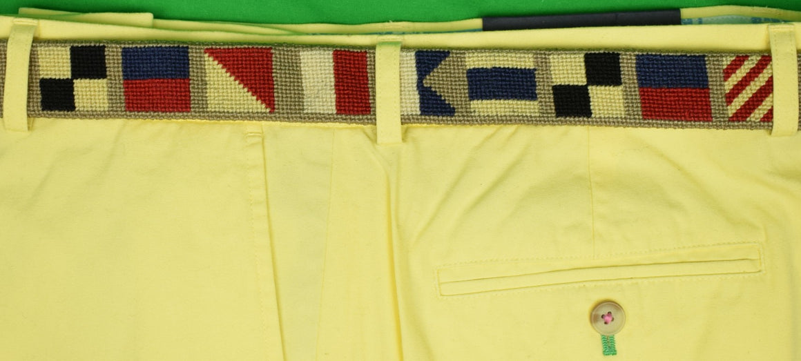 """Hand-Needlepoint (18) Signal Flag Belt Sz: 43"""