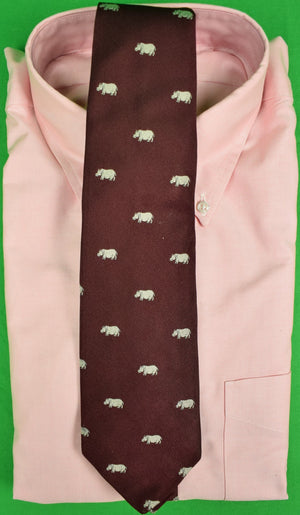 J Press Maroon English Silk Tie w/ Silver Hippo Print