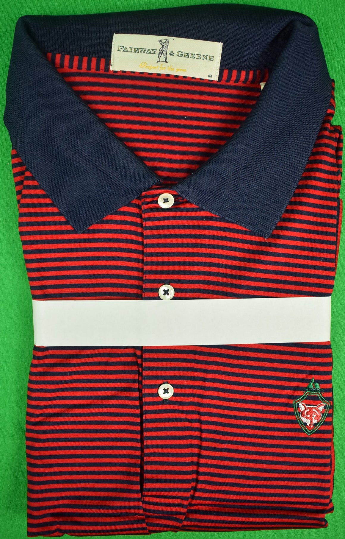 Fairway & Greene Red/ Navy Stripe Golf S/S Shirt w/ Fox Chapel Club Logo Sz: XXL