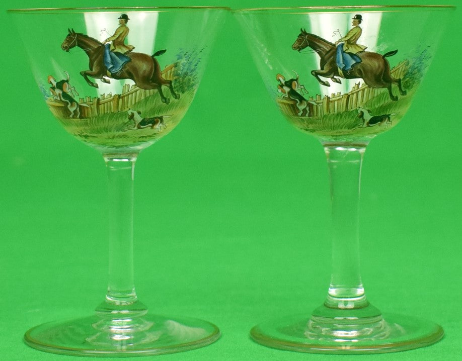 """Pair of Hand-Painted Fox-Hunter Cordial Glasses"""