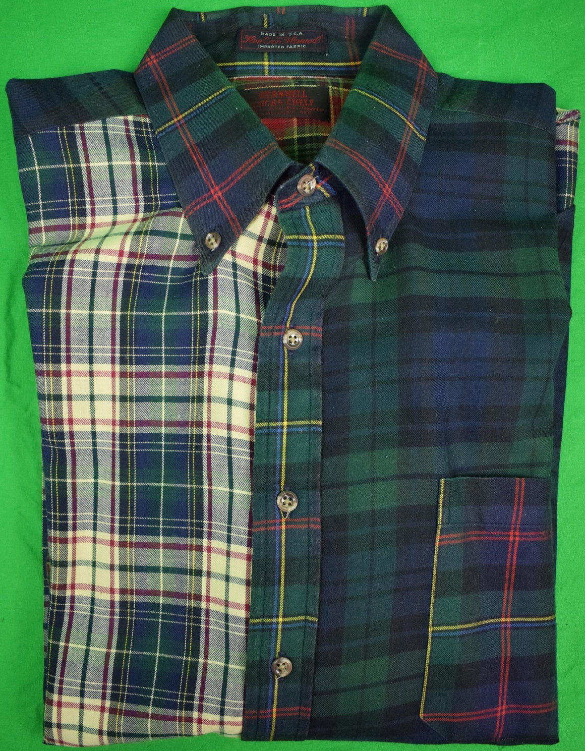O'Connell's Patch Tartan Viyella Sport Shirt Sz: XL