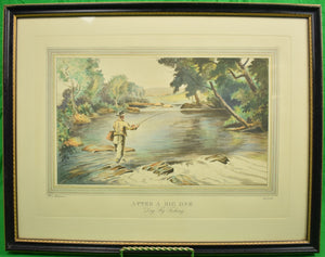 "Ralph L. Boyer 1936 Etching w/ Aquatint ""After a Big One- Dry Fly Fishing"""