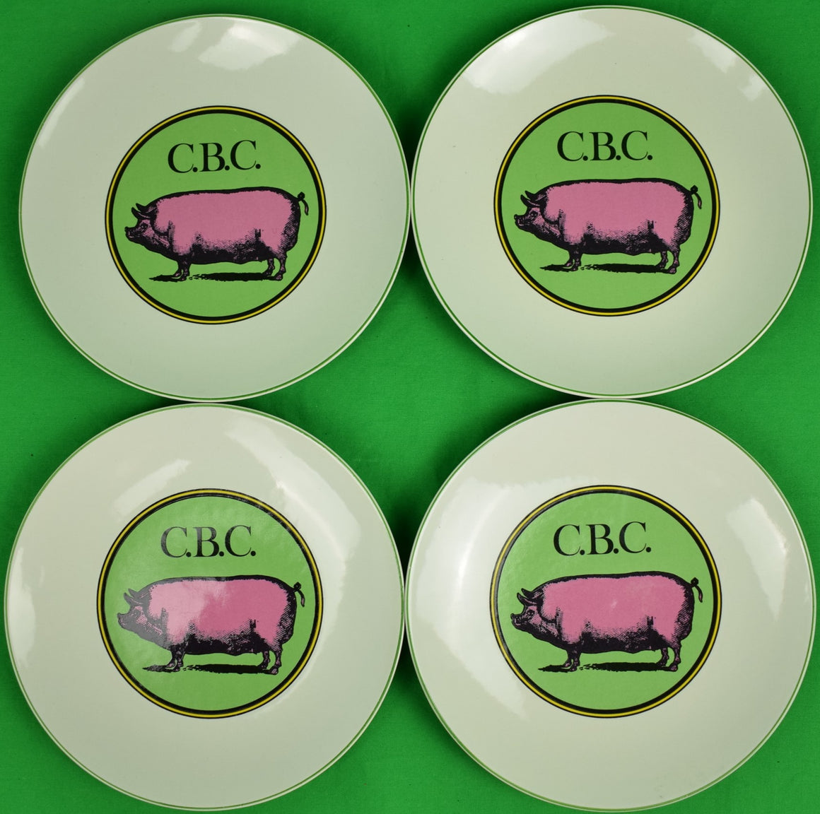 Set of 4 The Official Preppy Pig Plates