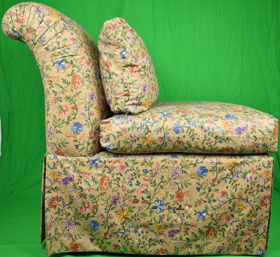 'Pair of Domain Petite Fleur Glazed Chintz Slipper Chairs'