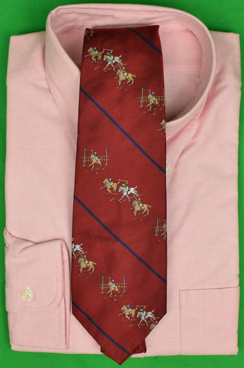 Polo by Ralph Lauren Burgundy w/ Navy Stripe Jacquard Silk Tie w/ Polo Match Motif
