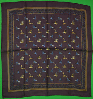 Italian Silk Aubergine Pocket Square w/ Saddles Print