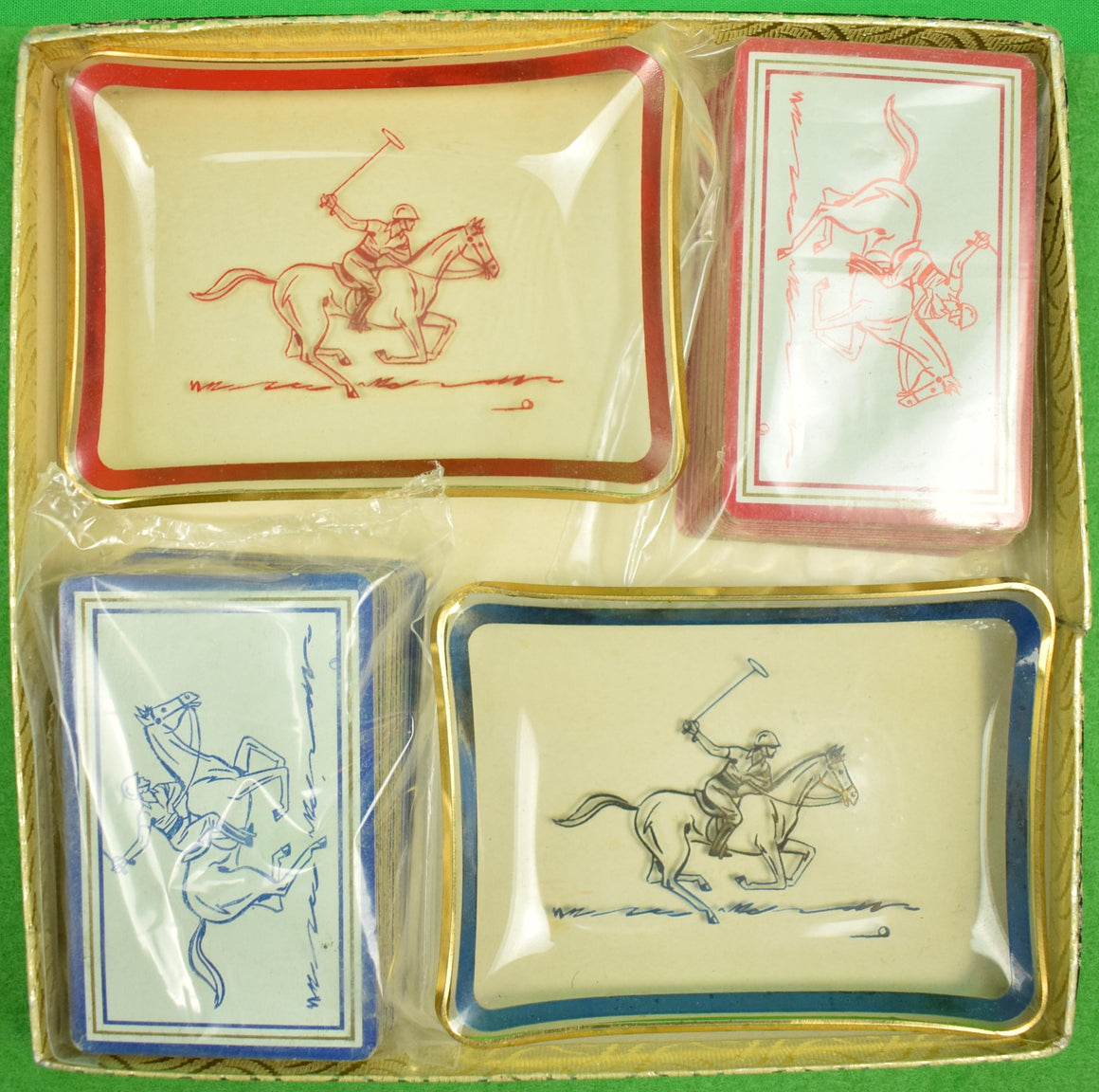 Box Set of 2 Glass Polo Player Ash Trays & Set of 2 Decks of Playing Cards