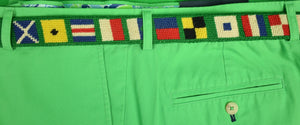 Hand-Needlepoint (18) Signal Flags Belt Sz: 34 (SOLD)