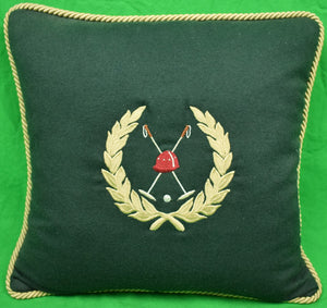 Polo Mallets Hunter Green Flannel Pillow New/ Old Stock!