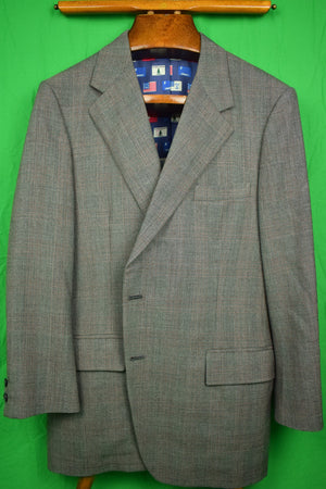 Chipp 2 Piece Glen Plaid Grey Worsted c.1993 Suit 42R