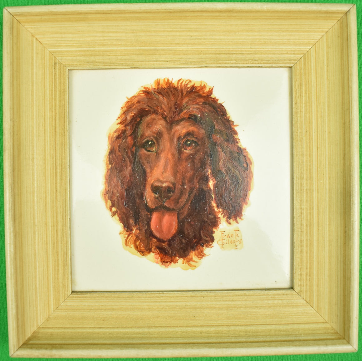 Abercrombie & Fitch Hand-Painted Dog Head by Frank Childers Framed Tile