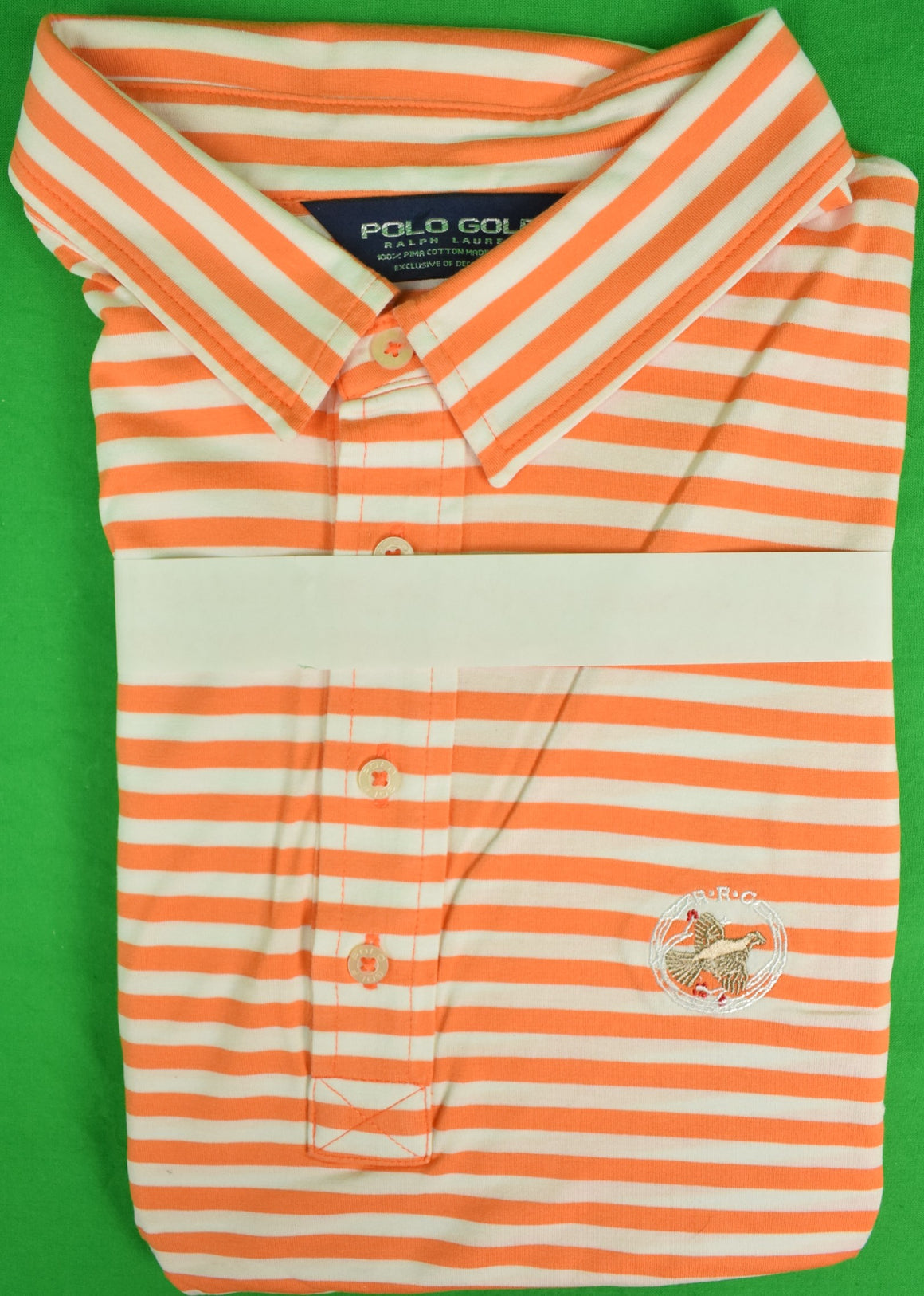 Ralph Lauren Polo Golf Orange/ White Stripe Sport Shirt w/ Rolling Rock Club Logo Sz: XXL