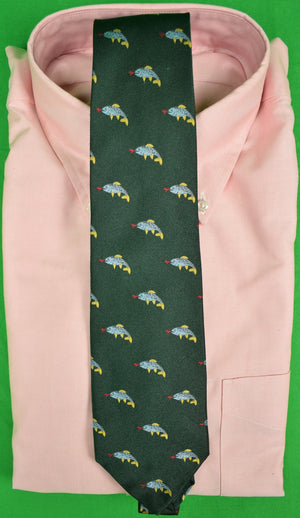 J Press Irish Green Silk Tie w/ Emblematic Fish Motif