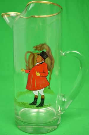 Abercrombie & Fitch Glass Pitcher w/ Hand-Painted Fox Hunt Scene